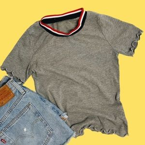 2/$12 Cropped Grey Lettuce Edge Ribbed Top